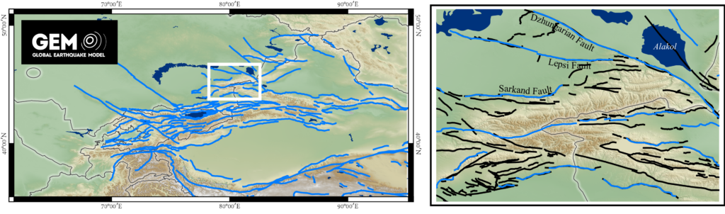 Figure showing a map across the Tien Shan region, with lines indicating the locations of active faults