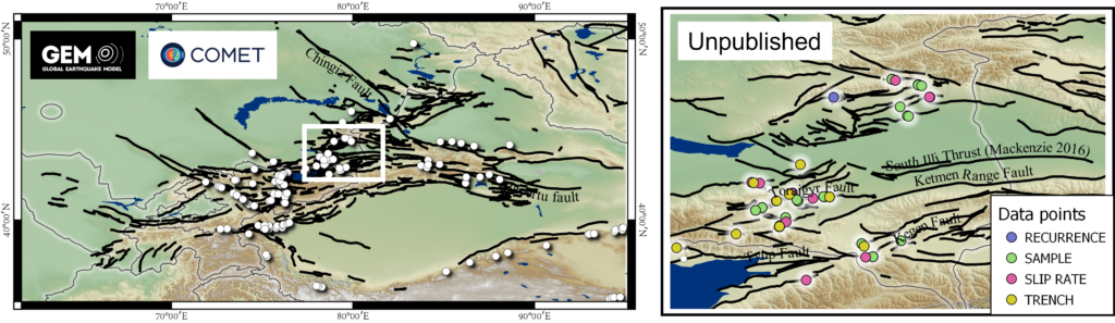 Figure showing a map across the Tien Shan region, with lines indicating the locations of active faults, and points indicating the location of field data